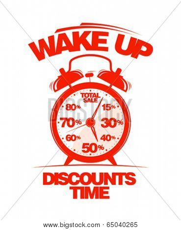 Wake up, discounts time design template.
