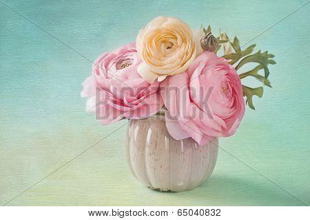 Pink ranunculus in a vase