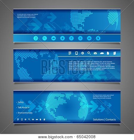 Web Design Elements - Abstract Header Design with Dotted Earth Globe