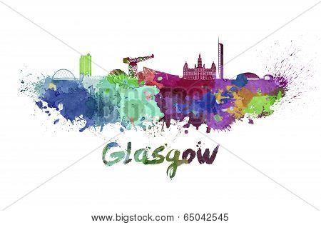 Glasgow Skyline In Watercolor