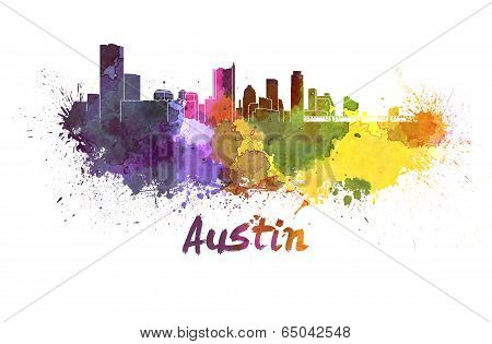Austin Skyline In Watercolor