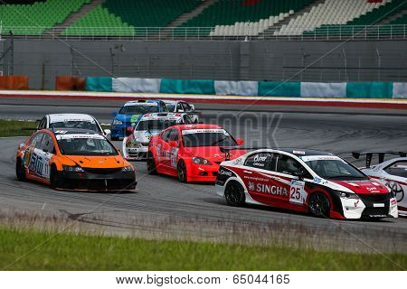 SEPANG, MALAYSIA - MAY 10, 2014: Production saloon class cars take to the track at the Thailand Super 2000 qualifying race of the Thailand Super Series Rd 1 in Sepang International Circuit.