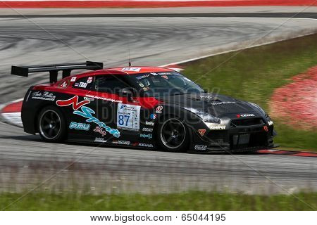 SEPANG, MALAYSIA - MAY 10, 2014: The Nissan GTR R35 car of Traitanit Chimtawan takes to the track at the Thailand Supercar GTM race of the Thailand Super Series Rd 1 in Sepang International Circuit.