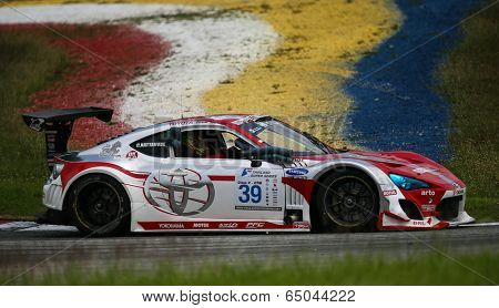 SEPANG, MALAYSIA - MAY 10, 2014: The Toyota 86 car of Nattavude Charoensukhawatana takes to the track at the Thailand Supercar GTM race of the TSS Rd 1 in Sepang International Circuit.