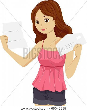 Illustration of a Girl Reading the Letter She Received from the College She Sent an Application to