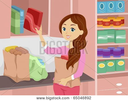 Illustration of a Girl Stocking Her Pantry with Fresh Supplies
