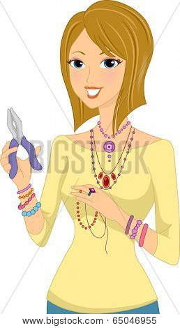 Illustration of a Girl Making Accessories with the Help of a Pair of Pliers