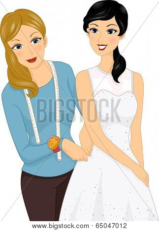Illustration of a Girl Having Her Measurements Taken So Her Dress Can be Altered