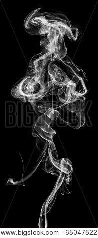 White Smoke Isolated On A Black Background