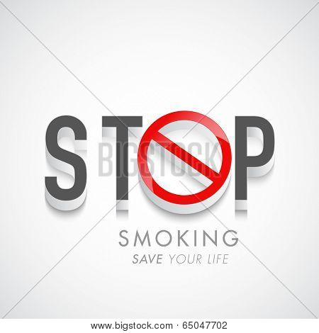 Poster, banner or flyer design for World No Tobacco Day with stylish text Stop Smoking on grey background.