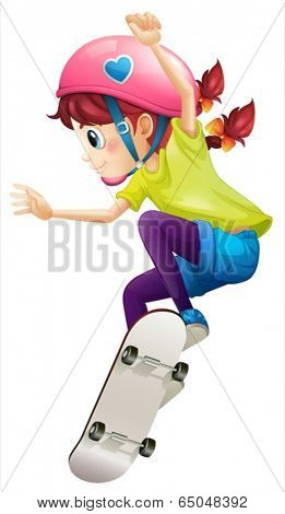 Illustration of a lady with a pink helmet skateboarding on a white background