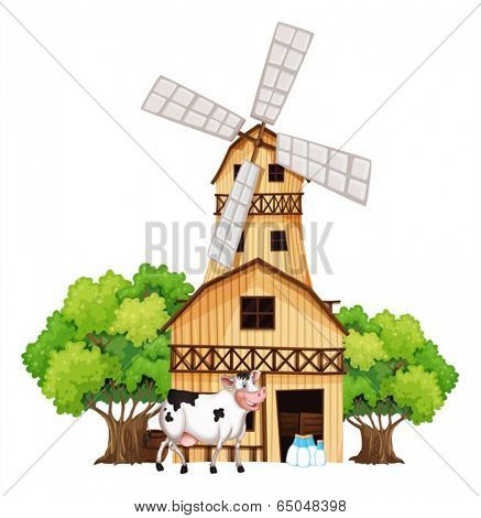 Illustration of a milking cow outside the barn house on a white background