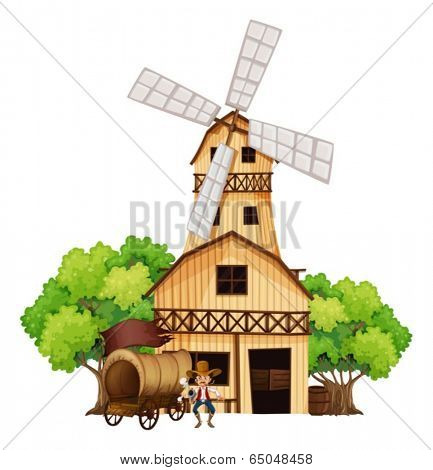 Illustration of a wagon with an armed gunman standing in front of the wooden house on a white background