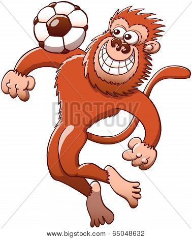 Cool monkey controlling a soccer ball with the chest
