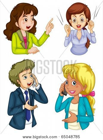 Illustration of the four business icons communicating on a white background