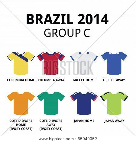 Brazil 2014 - group C teams football jerseys