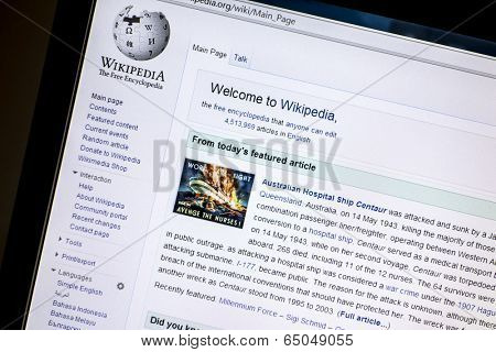 Ostersund, Sweden - May 14, 2014: Wikipedia website displayed on a computer screen. Wikipedia is a free online encyclopedia in several languages.