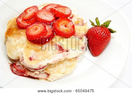 Top View Of Fresh Strawberry Pancakes