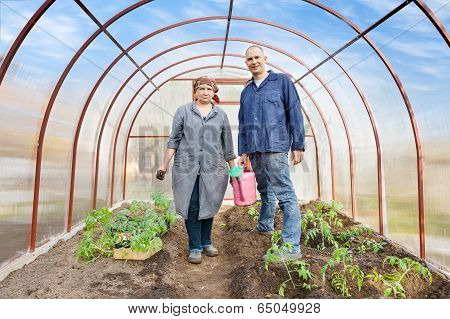 man and woman in greenhouse