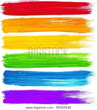 Vector rainbow watercolor brush strokes