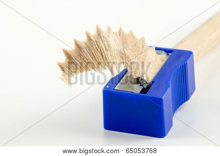 Wood Shaving In A Pencil Sharpener