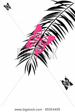 Pink  Butterfly On  The Palm Discolored