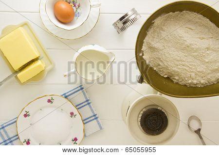 English Scones Ingredients Above