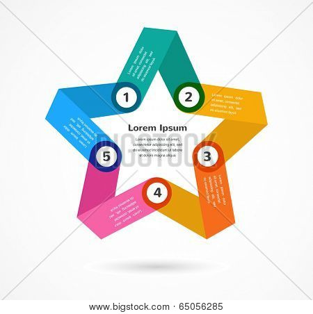 Abstract colorful background infographic with star and copy space