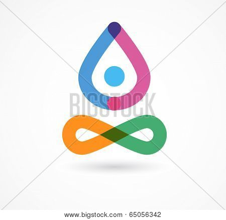 yoga, zen, meditation icon, colorful vector element and symbol
