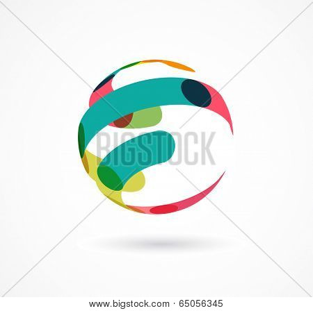Abstract colorful globe business icon and element