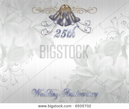 25th Wedding Anniversary Invitation silver bells