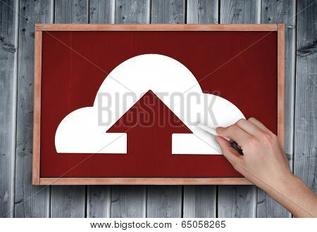 Composite image of hand drawing cloud computing with chalk on chalkboard on grey wooden planks
