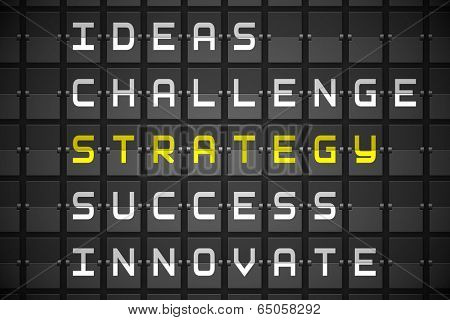Strategy buzzwords on digitally generated black mechanical board
