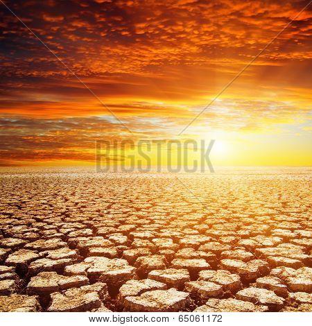 desert and red sunset