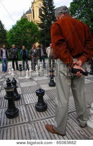 BOSNIA AND HERZEGOVINA, SARAJEVO - MAY 07, 2009: Chess Players in Sarajevo. Street Chess is one of the popular local custom in Bosnia and Herzegovina