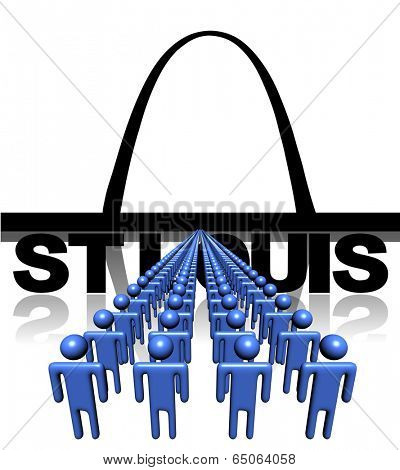 Lines of people with St Louis skyline illustration