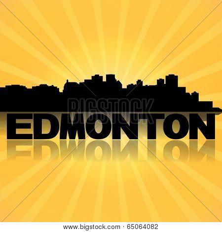 Edmonton skyline reflected with sunburst illustration