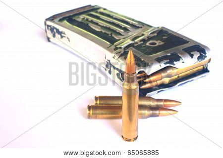 bullets for gun isolated on a white background