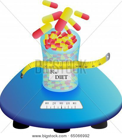 Diet pills on a scale