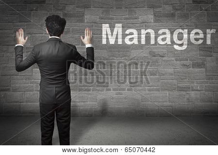 businessman standing hands up manager