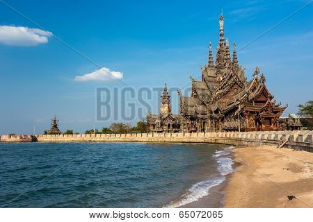 The wooden sanctuary of truth, buddhist, chinese, and hindi emple in Pattaya, Thailand