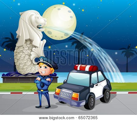 Illustration of a policeman and his patrol car near the statue of Merlion