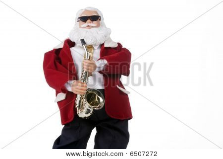 Saxophone Playing Santa Clause Isolated