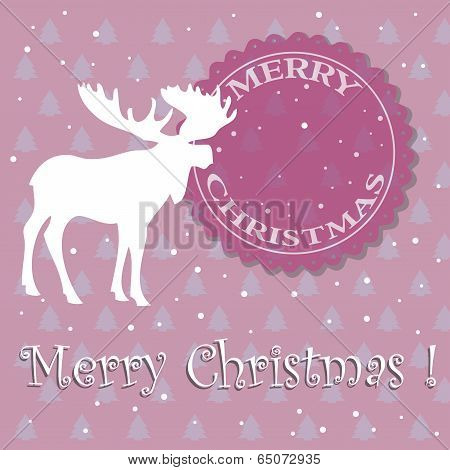 Christmas card with moose silhouette