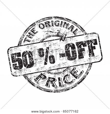 Fifty percent off rubber stamp