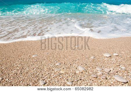 Seashore, Waves And Sandy Beach