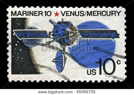 Mariner 10 Space Probe Us Postage Stamp
