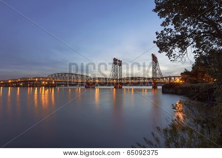 Interstate Bridge Over Columbia River After Sunset
