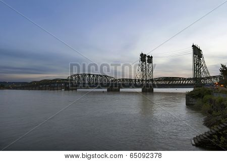 Interstate Bridge Over Columbia River At Dusk