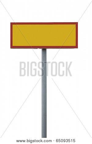 Blank warning sign isolated on white background